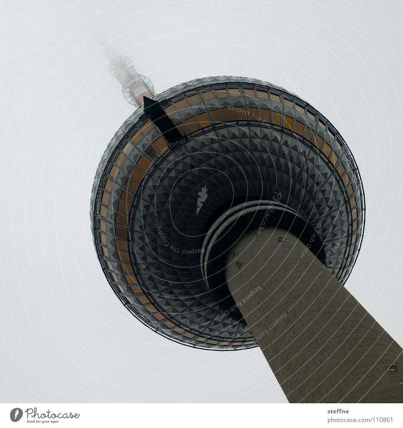 Berlin Germany Fog Tall Modern Tower Television Sphere Monument Vantage point Landmark GDR Elevator Tourist Capital city Berlin TV Tower