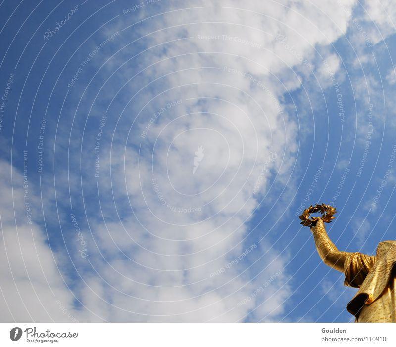 marginal figure Success White Wreath Deities Honor Image (representation) Berlin Sky victory statue Gold Blue tribute God wasnichwas