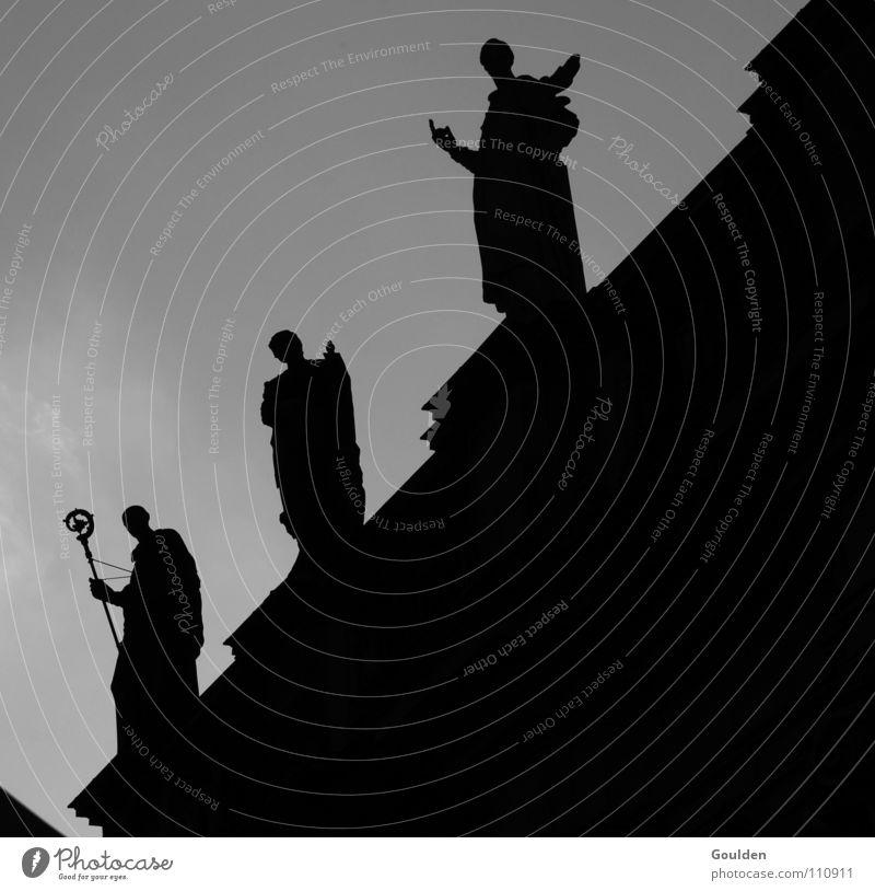 3 dark figures Dresden Clergyman Religion and faith Statue Back-light House of worship Holy