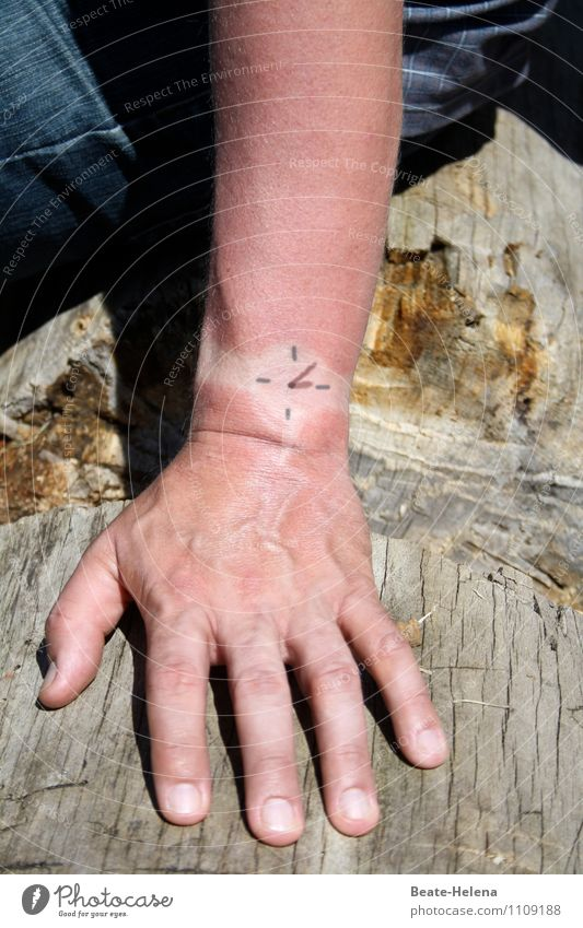 top-secret time of day. Clock Human being Masculine Arm Hand 1 Wristwatch Wood Sign Time Draw Sit Moody Joy Creativity Whimsical Colour photo Exterior shot