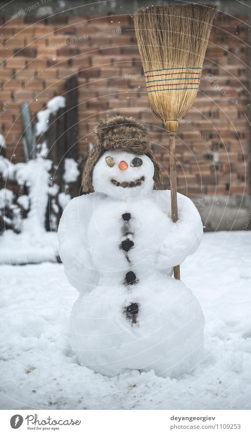 Snowman in the yard Joy Happy Face Playing Winter Feasts & Celebrations Man Adults Scarf Hat Smiling Authentic White cold Carrot Seasons christmas nose holiday