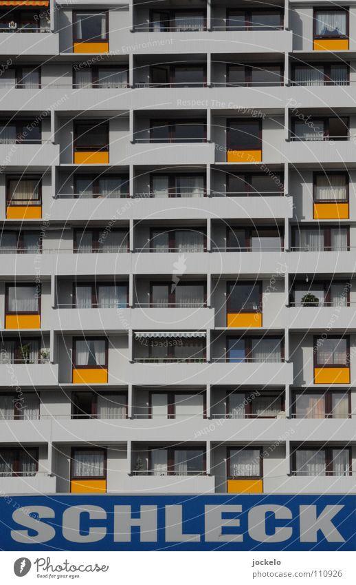 Blue Gray Orange Concrete High-rise Gloomy Vantage point Advertising Delicious Balcony Drugstore Boredom Paradise Seventies Stuttgart Prefab construction