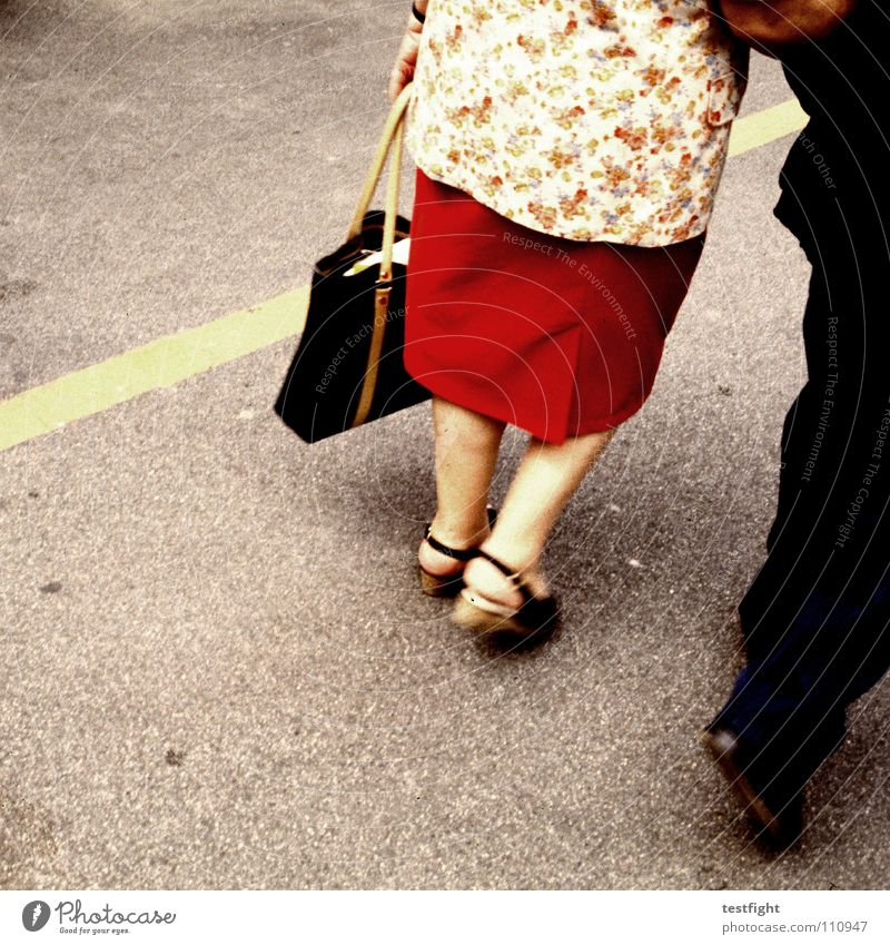 Senior citizen Love Street Couple Feet Legs Together Going Walking In pairs Trust Bag Markets Human being Married couple In transit
