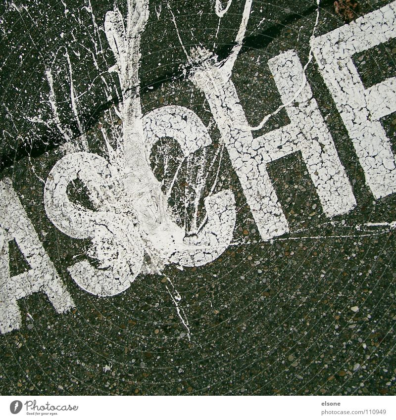 ::ASCHE:: Letters (alphabet) Text White Lettering Typography Parking lot Concrete Gray Black Pforzheim Traffic infrastructure Communicate Characters