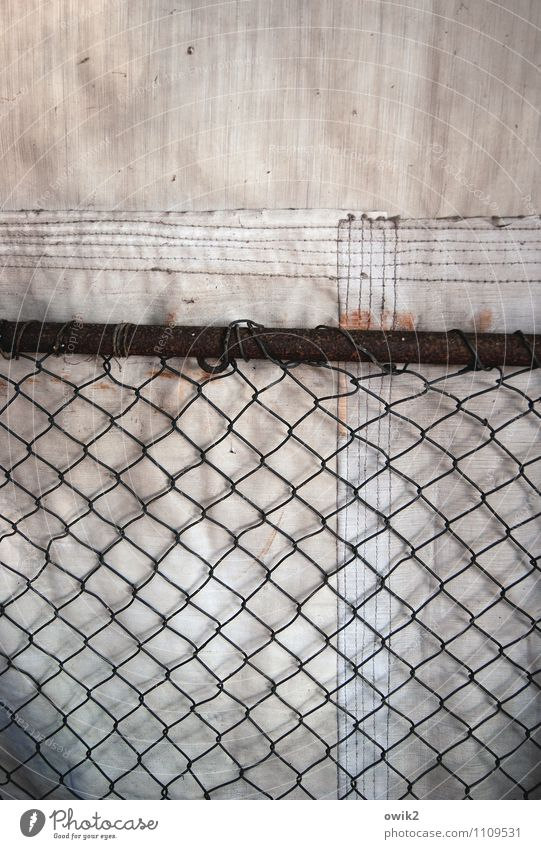 Behind grids Gloomy Wire netting Covers (Construction) Protection Stitching Firm Colour photo Exterior shot Close-up Detail Deserted Copy Space top