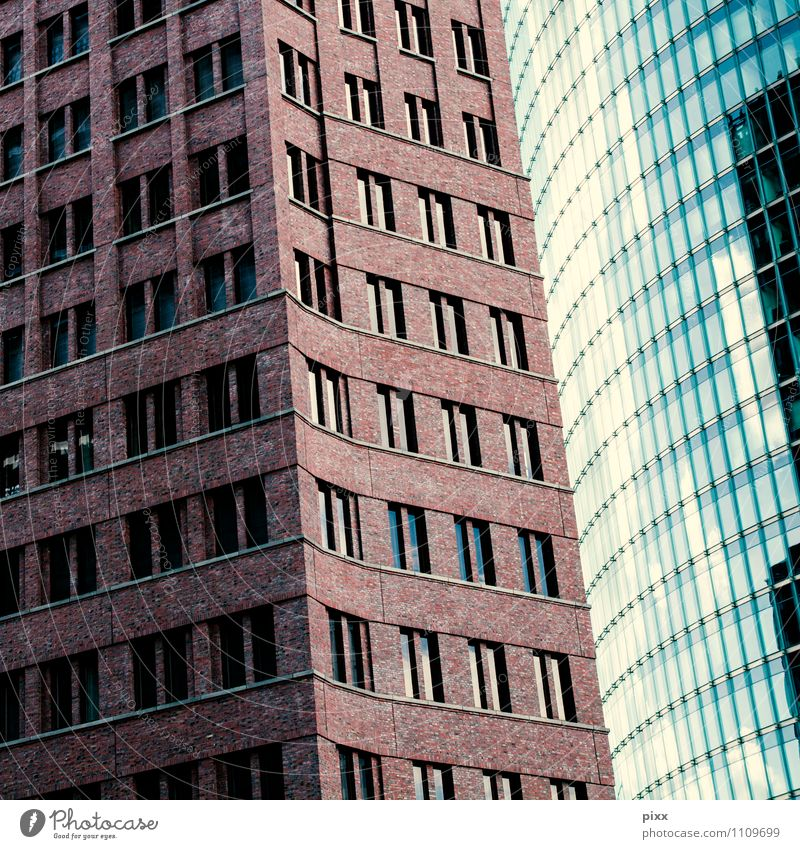 Blue Beautiful Calm Cold Window Wall (building) Architecture Wall (barrier) Berlin Stone Brown Lifestyle Facade Work and employment Business Growth
