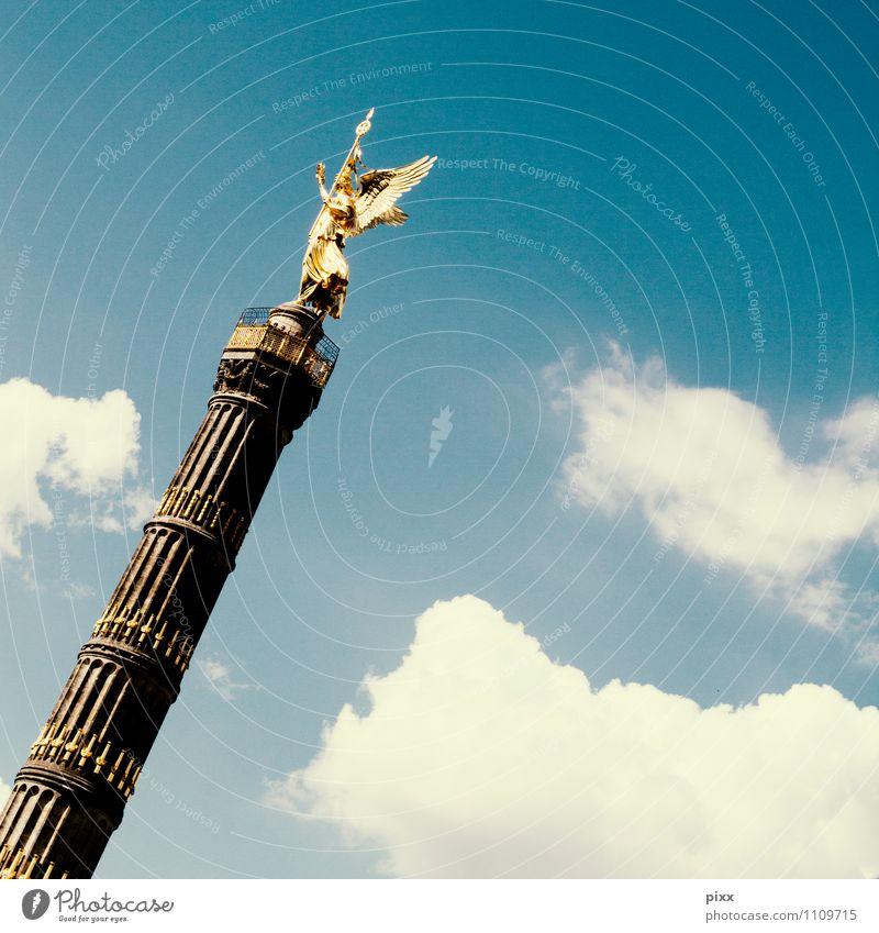 Blue Summer Sun Calm Clouds Feminine Berlin Freedom Stone Art Glittering Illuminate Elegant Gold Tourism Stand