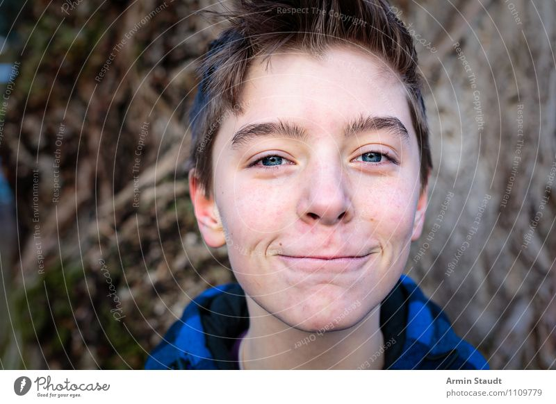 Human being Child Nature Youth (Young adults) Blue Beautiful Young man Joy Winter Emotions Lifestyle Masculine Contentment 13 - 18 years Happiness Smiling