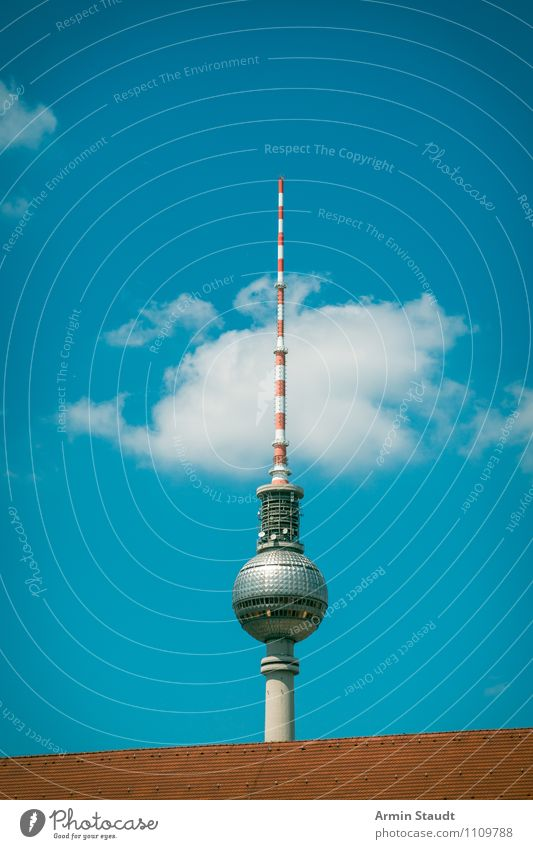Berlin television tower behind the roof Vacation & Travel Sightseeing Technology Sky Summer Beautiful weather Downtown Berlin Town Skyline