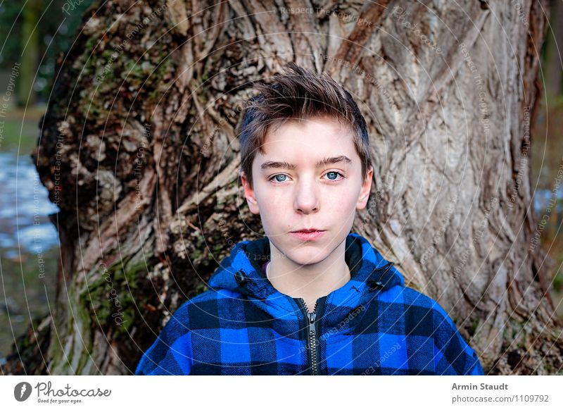Human being Child Nature Youth (Young adults) Blue Beautiful Tree Young man Winter Emotions Natural Lifestyle Park Masculine Authentic 13 - 18 years