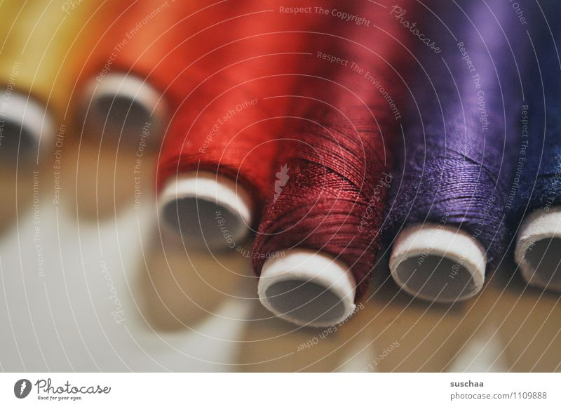 darned and sewn up ... Sewing thread Coil roll Multicoloured Color gradient Tailoring Handcrafts Dry goods Shallow depth of field