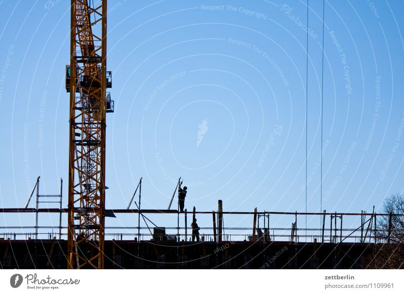 Sky City Berlin Work and employment City life Copy Space Construction site Cloudless sky Crane Construction worker Scaffold Working man Scaffolding Montage