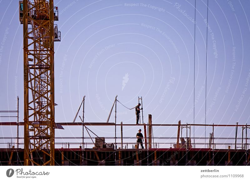 Sky City Berlin Work and employment City life Copy Space Technology Industry Construction site Industrial Photography Cloudless sky Crane Construction worker
