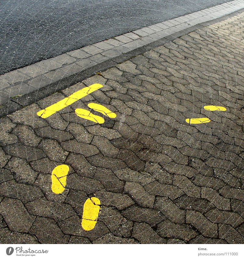 Yellow Street Stone Feet Graffiti Wait Signs and labeling Asphalt Stop Signage Testing & Control Respect Warning label Stay Minerals Warning sign