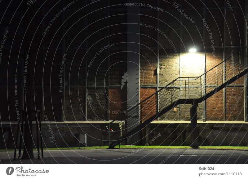 Loneliness Black Wall (building) Building Wall (barrier) Gray Moody Going Facade Stairs Illuminate Copy Space Industry Retro Protection Handrail