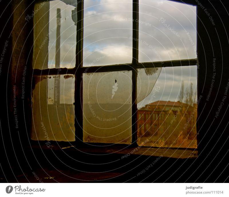 Old Loneliness Colour Window Glass Industry Factory Broken Construction site Derelict Chimney Dismantling Shard Work of art Splinter