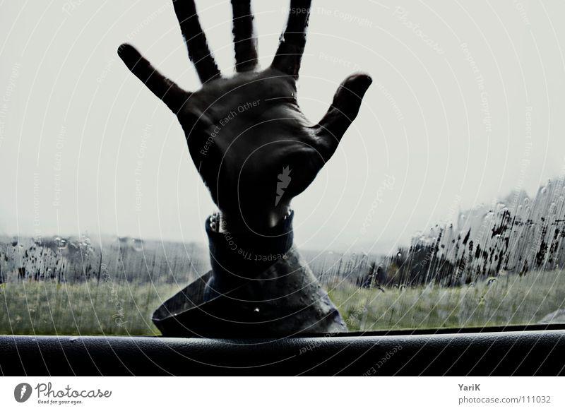 give me 5 Car Window Car door Wet Damp Rain Dark Hand Fingers Horizon Field Knock Cold Bad weather Gale Passion Rain jacket Exclude Exposed Sin Stop Depart Flee