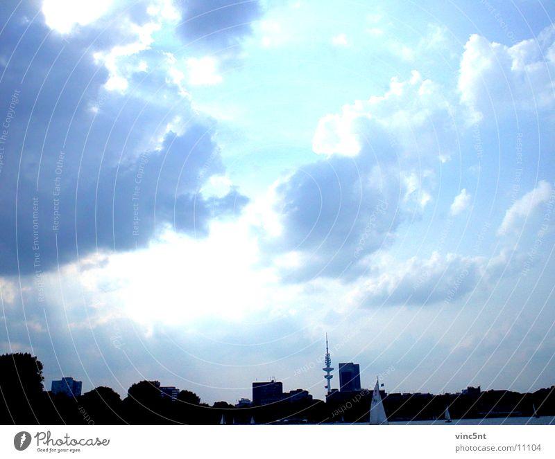 Sky Blue Clouds Cold Hamburg Fresh Neon light Photographic technology