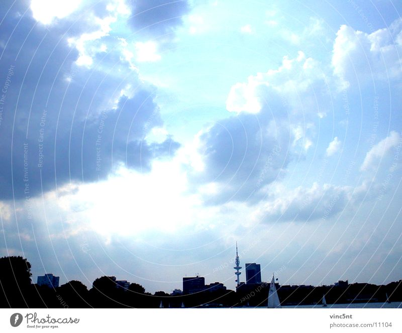Sky Blue Clouds Cold Hamburg Fresh Neon light Photographic technology