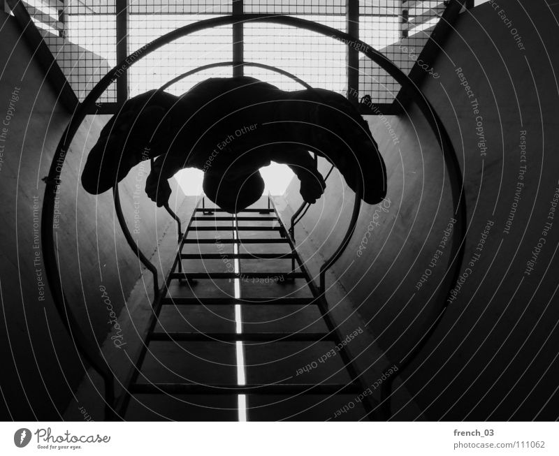 come down there Dark Round Circle Black White Silhouette Tunnel Grating Light Descent Go up Hand Altitude flight Comforting Relaxation Student accommodation