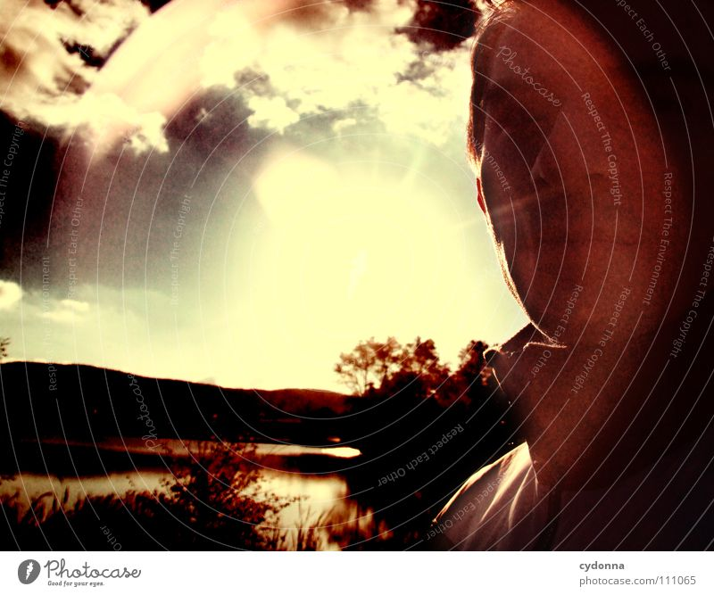 traveling light Man Fellow Curiosity Mysterious Bird's-eye view Meadow Pond Light Retro Back-light Dark Silhouette Clouds Dazzle Beautiful Think Identity