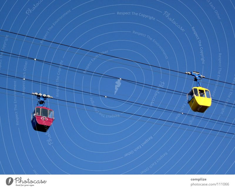 Sideways Cable car Above Abseil Driving Movement Ski lift Summer Winter Strong Steel Red Yellow Encounter Hello Right Left Transport Playing Aviation