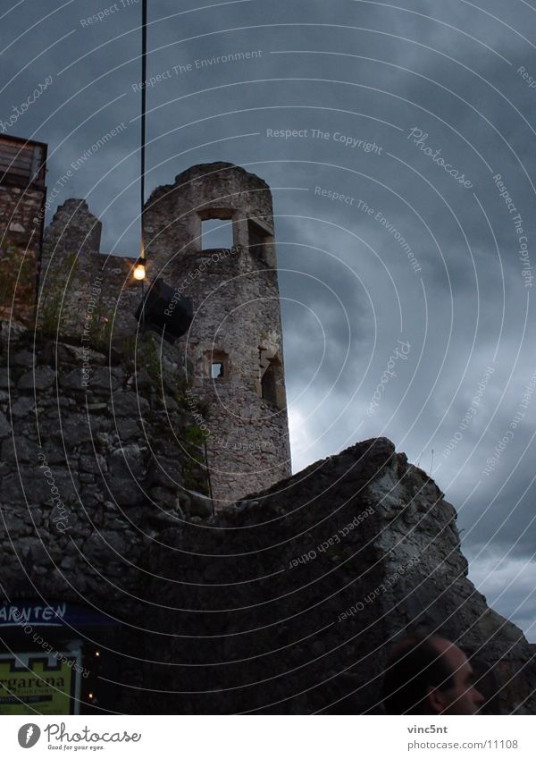 castle tower Castle tower Ruin Night Mystic Federal State of Kärnten Historic Tower burgarena