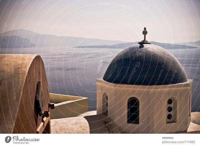 Oia Chapel Santorini Religion and faith Greece Cyclades Ocean Multicoloured Gorgeous Caldera House of worship White-blue Past Mediterranean sea Fantastic view