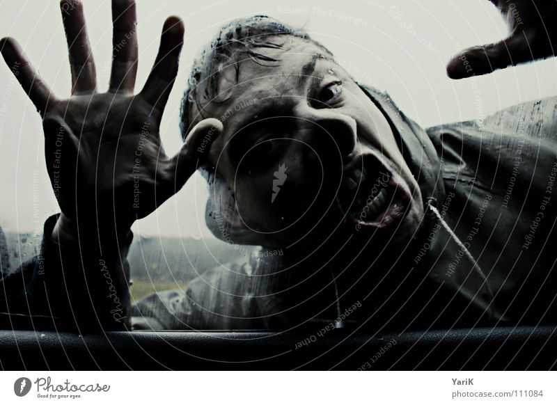 let me in Car Window Car door Wet Damp Rain Dark Hand Knock Cold Bad weather Gale Passion Rain jacket Exclude Exposed Sin Stop Hitchhiker Fear Panic Glass Blue