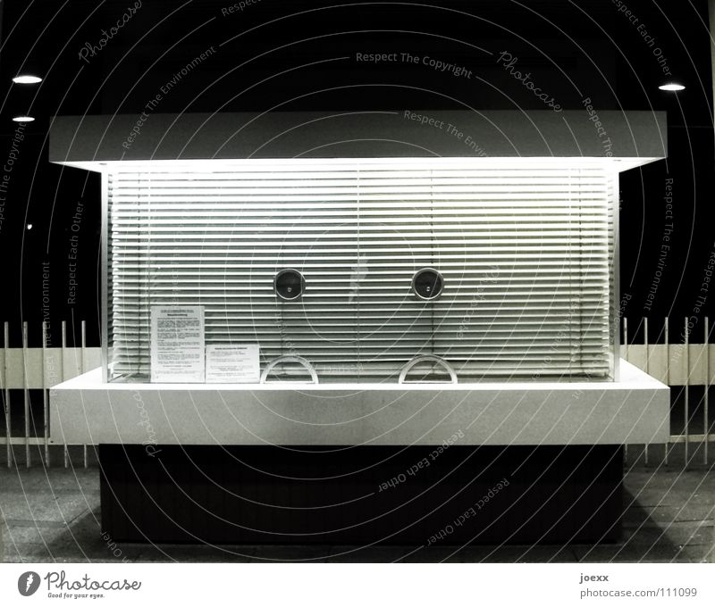 Architecture Closed Services Entrance Anonymous Stay Late Insolvency Cash register Closing time Night shot Venetian blinds Hatch Receive