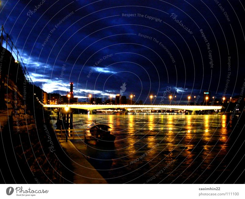 Water Blue City Black Clouds Yellow Dark Watercraft Moody Lighting Night Europe Bridge River Switzerland Footbridge