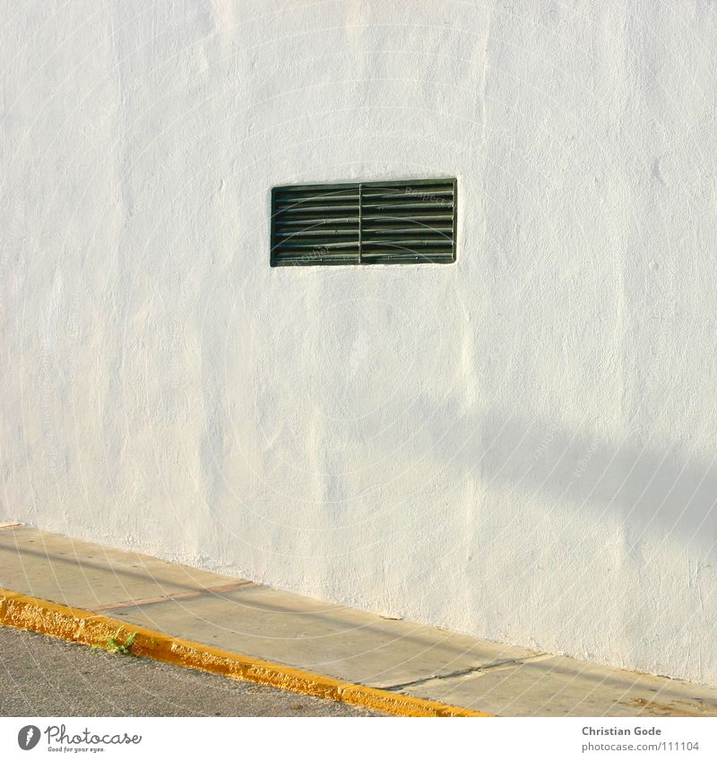 Ventilation window in evening mood Sidewalk Curbside Wall (building) Spain Andalucia White Yellow Incline House (Residential Structure) Parking Driving