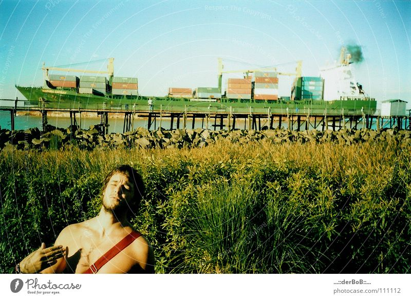 barbarian Watercraft Goods Green Argentina Buenos Aires South America Footbridge Man Lomography Navigation ship Container blue water edge waxing upper body free