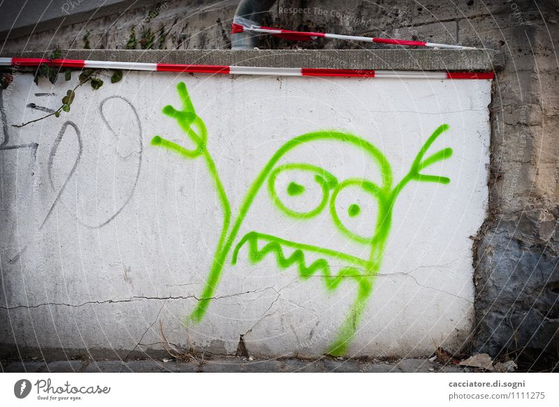 Boohoo Wall (barrier) Wall (building) flutterband Barrier warning tape Graffiti Aggression Exceptional Threat Dark Brash Funny Crazy Gray Green White