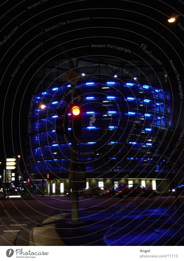 Blue Hamburg Parking garage Photographic technology Saturn