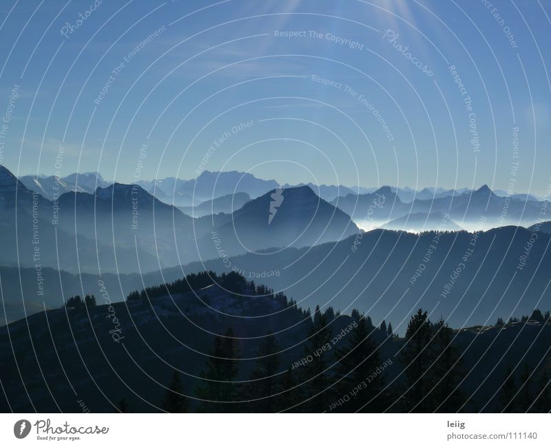 Sky Blue Colour Landscape Calm Far-off places Winter Dark Cold Mountain Autumn Gray Freedom Horizon Glittering Fog