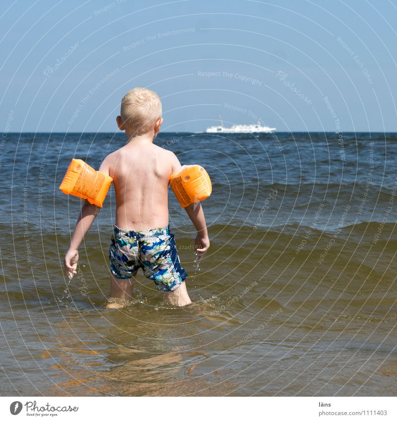 Where's my water pistol? Swimming & Bathing Leisure and hobbies Playing Vacation & Travel Tourism Far-off places Summer Beach Ocean Waves Masculine Child