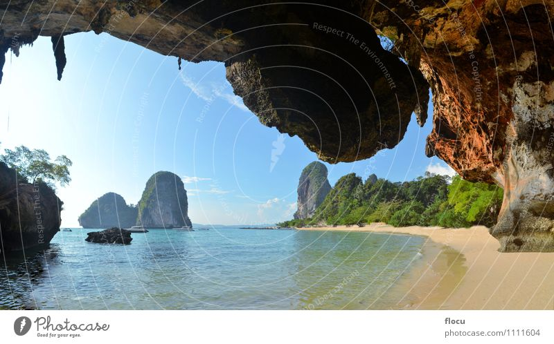 Clear water, blue sky at cave beach Phra Nang Sky Nature Vacation & Travel Blue Beautiful Summer Relaxation Ocean Landscape Beach Coast Sand Watercraft Rock