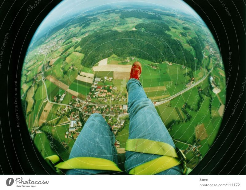 Forest Landscape Legs Air Earth Fear Flying Tall Dangerous Lomography Parachute Threat Fisheye Level Jeans To fall