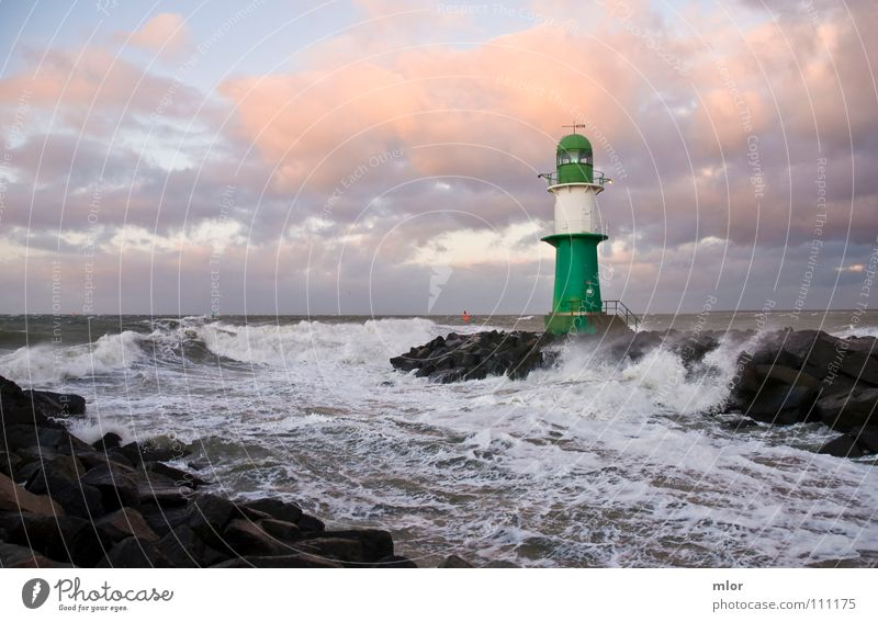 Lighthouse in a storm Green White Waves Gale Surf Ocean Rostock Warnemünde Breeze Hurricane Cliff Harbour Baltic Sea stiffness storm tide Watercraft