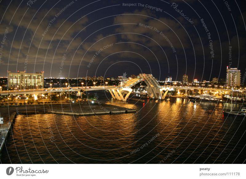 Street Watercraft Transport Bridge USA Harbour Americas Manmade structures Florida Night shot Miami Drawbridge Fort Lauderdale