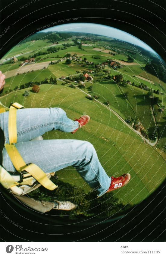Whoa.! Paraglider Monstrous Hover Weightlessness Bird's-eye view Vantage point Paragliding Sneakers Air Fisheye Lomography To hold on Dangerous Thrill To fall