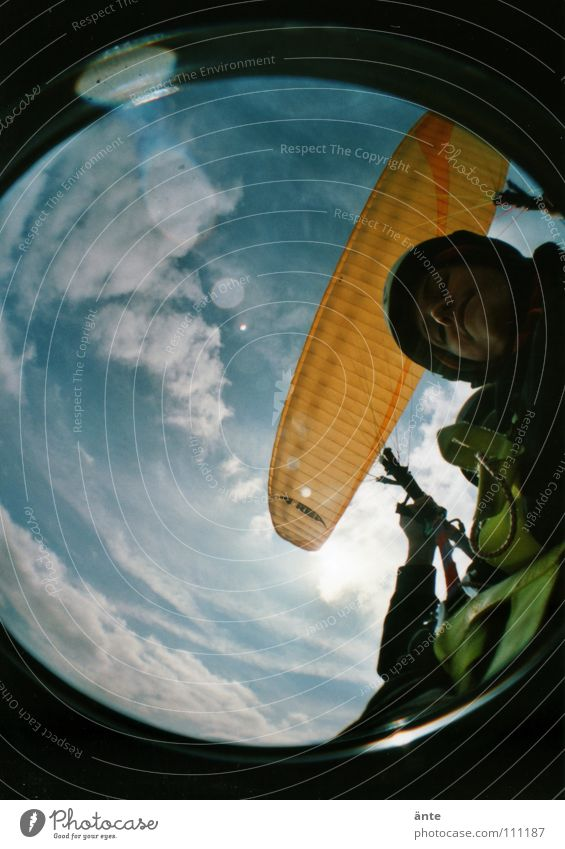 wheeee... Paraglider Monstrous Hover Weightlessness Paragliding Air Fisheye Lomography To hold on Dangerous Thrill To fall Flying Legs Looking Level fly Tall
