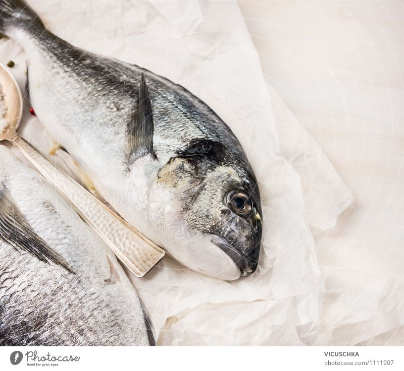 Dorado fish on white paper Food Fish Nutrition Lunch Banquet Organic produce Vegetarian diet Diet Style Design Healthy Eating Table Kitchen Background picture