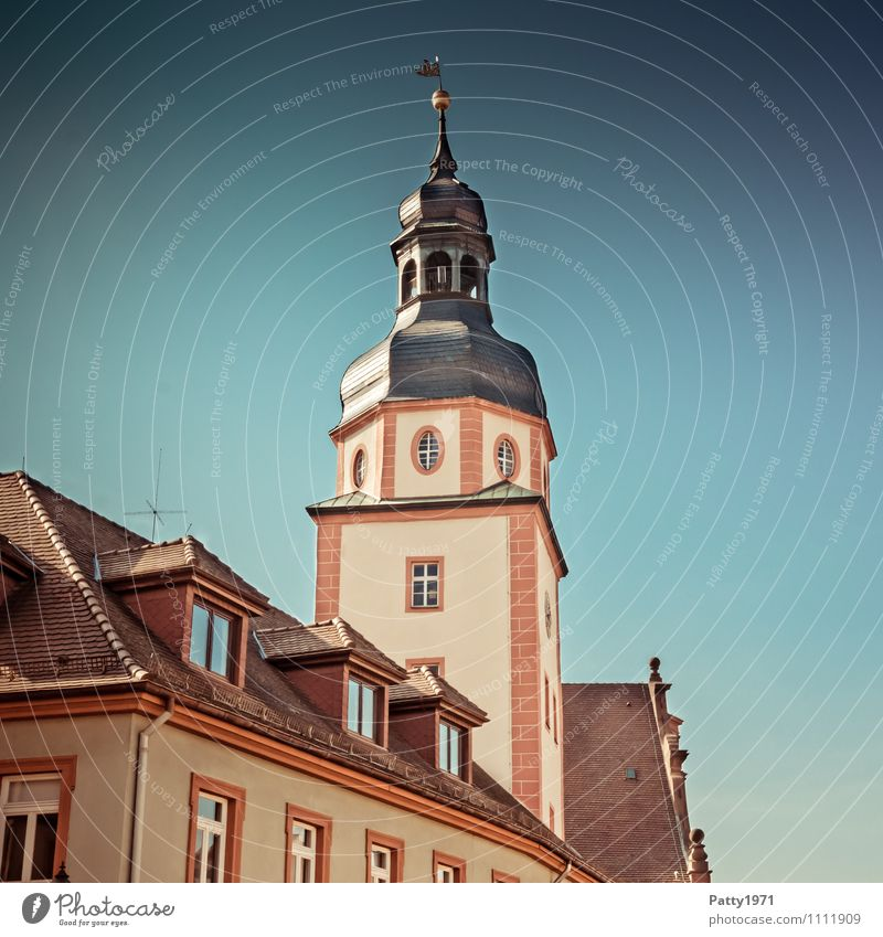 Town hall tower Ettlingen Tourism City trip Baden-Wuerttemberg Germany Europe Small Town City hall Tower Retro Subdued colour Exterior shot Day