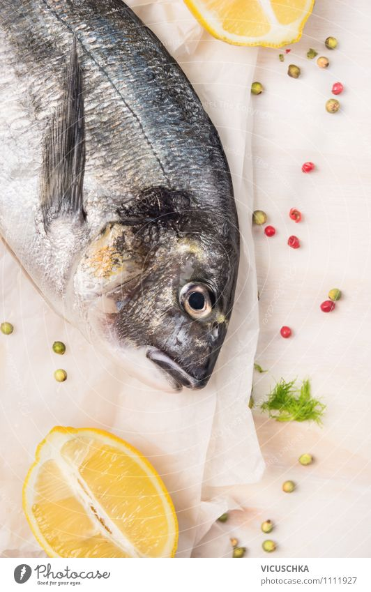 A good pair - gilthead fish and lemon. Food Fish Herbs and spices Nutrition Lunch Dinner Organic produce Vegetarian diet Diet Lifestyle Style Design