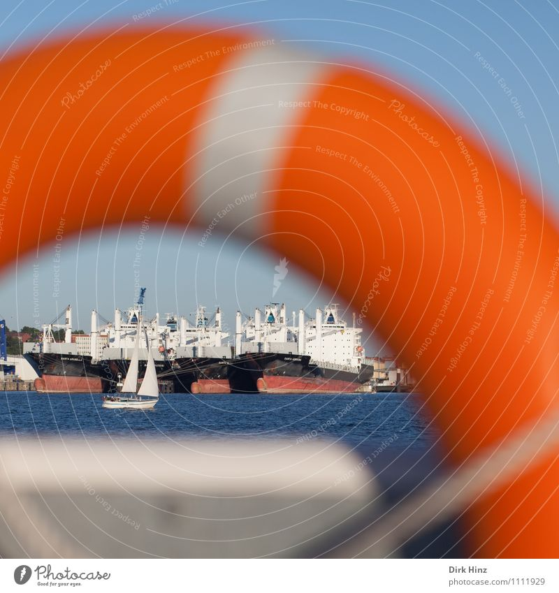 Rescue in sight Beautiful weather Waves Baltic Sea Ocean Wait Blue Orange Problem solving Safety Insurance Trust Life belt Rescue equipment Navigation