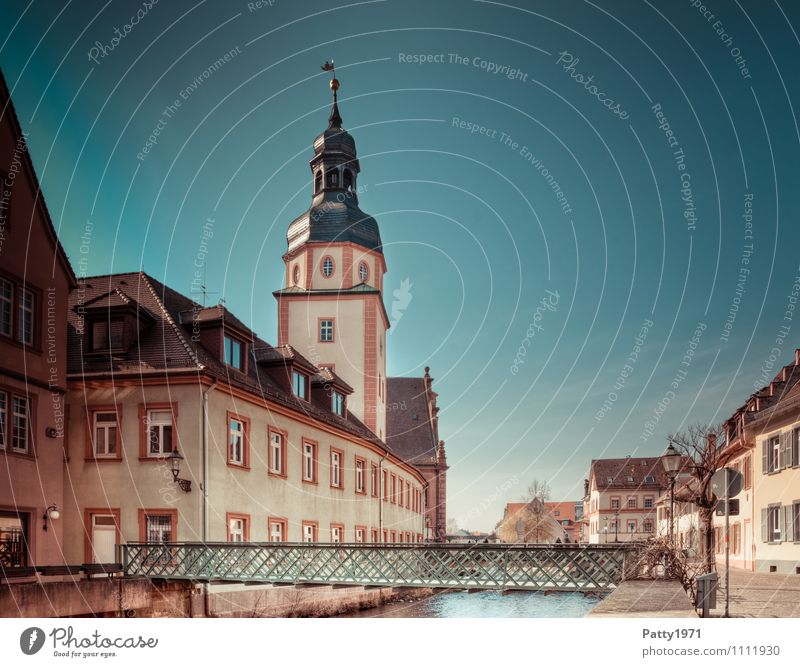 City view Ettlingen Tourism City trip Brook Baden-Wuerttemberg Germany Europe Small Town Old town House (Residential Structure) City hall Bridge Tower Retro