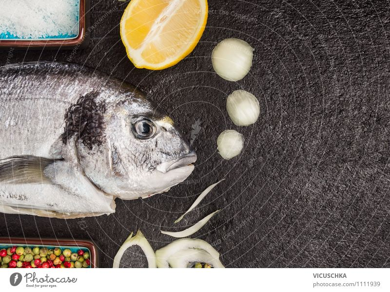 Healthy Eating Black Style Dish Background picture Food Design Table Nutrition Cooking & Baking Herbs and spices Kitchen Card Fish Organic produce