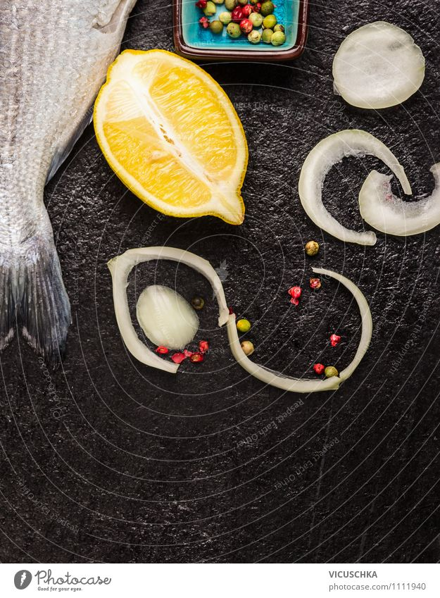 Fish raw with lemon, onion and spices Food Herbs and spices Lunch Banquet Organic produce Vegetarian diet Diet Bowl Style Design Healthy Eating Life Table